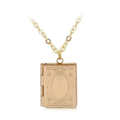 Beautiful Engraved Story Book Locket gold Necklace