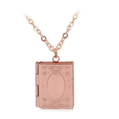 Beautiful Engraved Story Book Locket rose gold Necklace