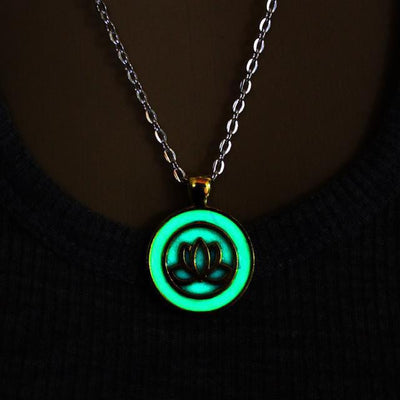 Beautiful Glowing Lotus Pendant Necklace Gold Necklace