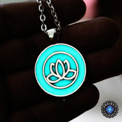 Beautiful Glowing Lotus Pendant Necklace Silver Necklace