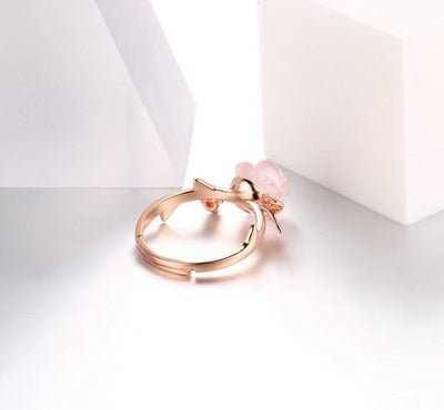 Beautiful Rose Quartz Rose Ring Rings