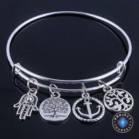 Beautiful Silver Tree of Life Bangles - Adjustable and Expandable Charm Bracelet Style 1 Bracelet