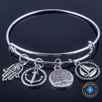 Beautiful Silver Tree of Life Bangles - Adjustable and Expandable Charm Bracelet Style 2 Bracelet