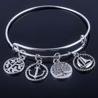 Beautiful Silver Tree of Life Bangles - Adjustable and Expandable Charm Bracelet Style 3 Bracelet