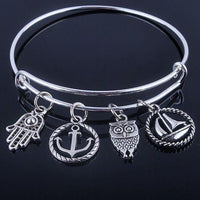 Beautiful Silver Tree of Life Bangles - Adjustable and Expandable Charm Bracelet Style 4 Bracelet