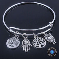 Beautiful Silver Tree of Life Bangles - Adjustable and Expandable Charm Bracelet Style 5 Bracelet