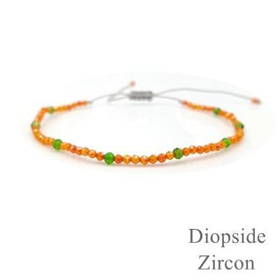 Bijou Gemstone Bracelet Orange Zircon and Diopside Bracelet