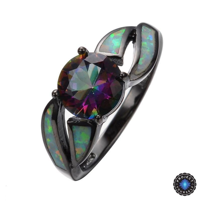 Black Gold Filled Mystic Cubic Zirconia Fire Opal Ring Project
