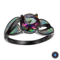 Black Gold Filled Mystic Cubic Zirconia Fire Opal Ring Rings