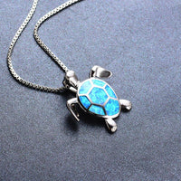 Blue Opal Turtle Necklace Necklace