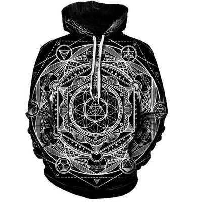 Blueprint Of The Universe Sacred Geometry Hoodie Black / 4XL Clothing