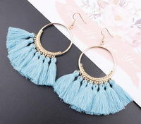 Boho Bliss Tassel Earrings Baby Blue Earrings