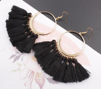 Boho Bliss Tassel Earrings Black Earrings