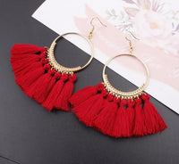 Boho Bliss Tassel Earrings Blood Red Earrings