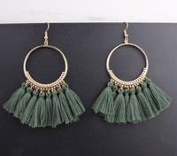 Boho Bliss Tassel Earrings Green Earrings
