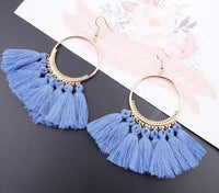 Boho Bliss Tassel Earrings Light Blue Earrings