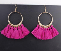 Boho Bliss Tassel Earrings Magenta Earrings