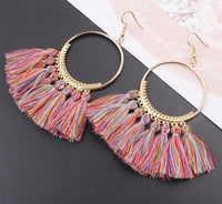 Boho Bliss Tassel Earrings Pink Frenzy Earrings