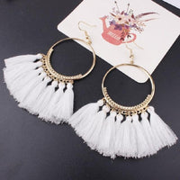 Boho Bliss Tassel Earrings White Earrings