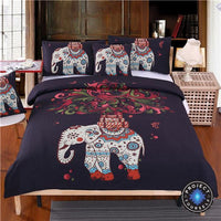 Boho Elephant Tree of Life Printed Black Bedding Set Bed Sheets