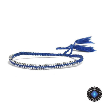 Boho Tasseled Seed Beads Friendship Bracelet Dark Blue Bracelet
