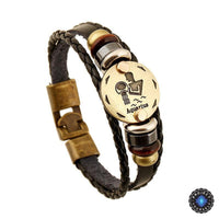Bronze Zodiac Leather Bracelet Aquarius Bracelet