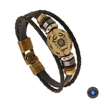 Bronze Zodiac Leather Bracelet Cancer Bracelet