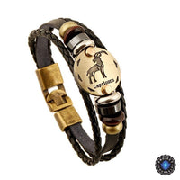 Bronze Zodiac Leather Bracelet Capricorn Bracelet