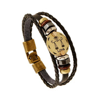 Bronze Zodiac Leather Bracelet Libra Bracelet