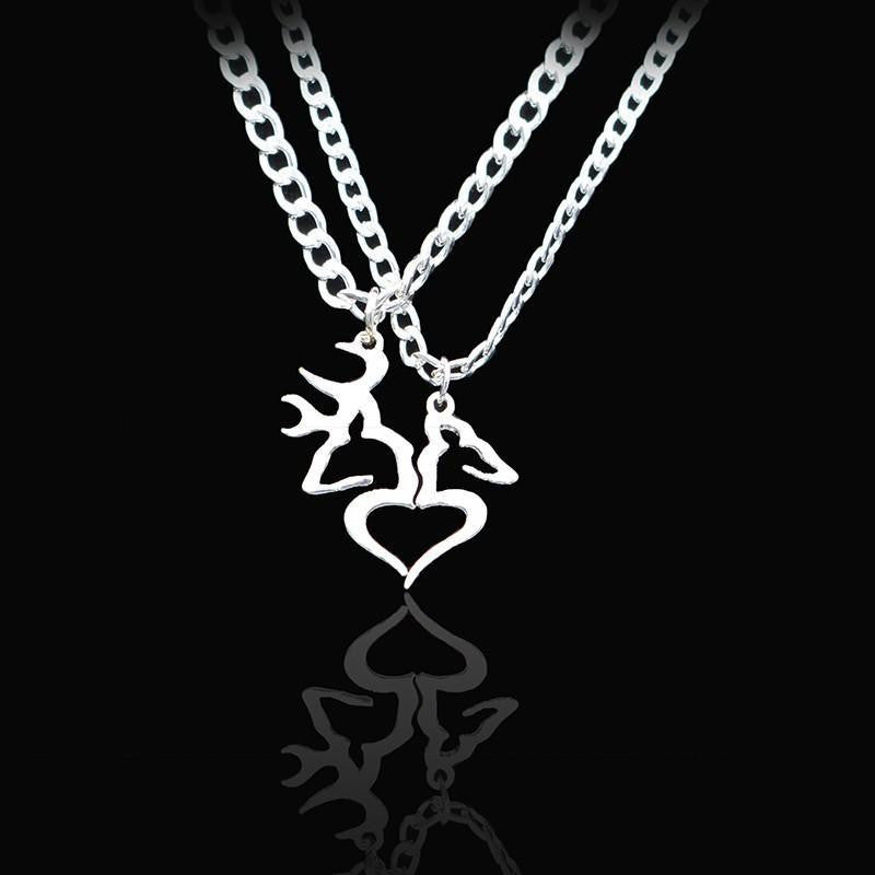 5a78849bec Buck And Doe Heart Pendant Couples Necklace Set - Project Yourself