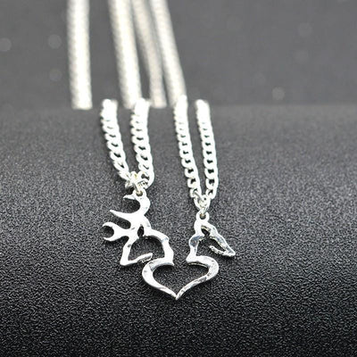 Buck And Doe Heart Pendant Couples Necklace Set Necklace