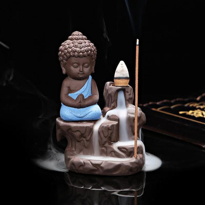 Buddha Backflow Incense Burner Blue Incense Holder