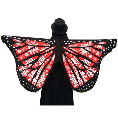 Butterfly Wings Beach Shawl Red Snowflake Tapestry