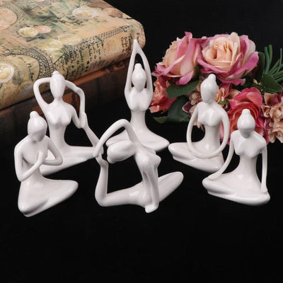 Ceramic Yoga Lady Figurine Decor