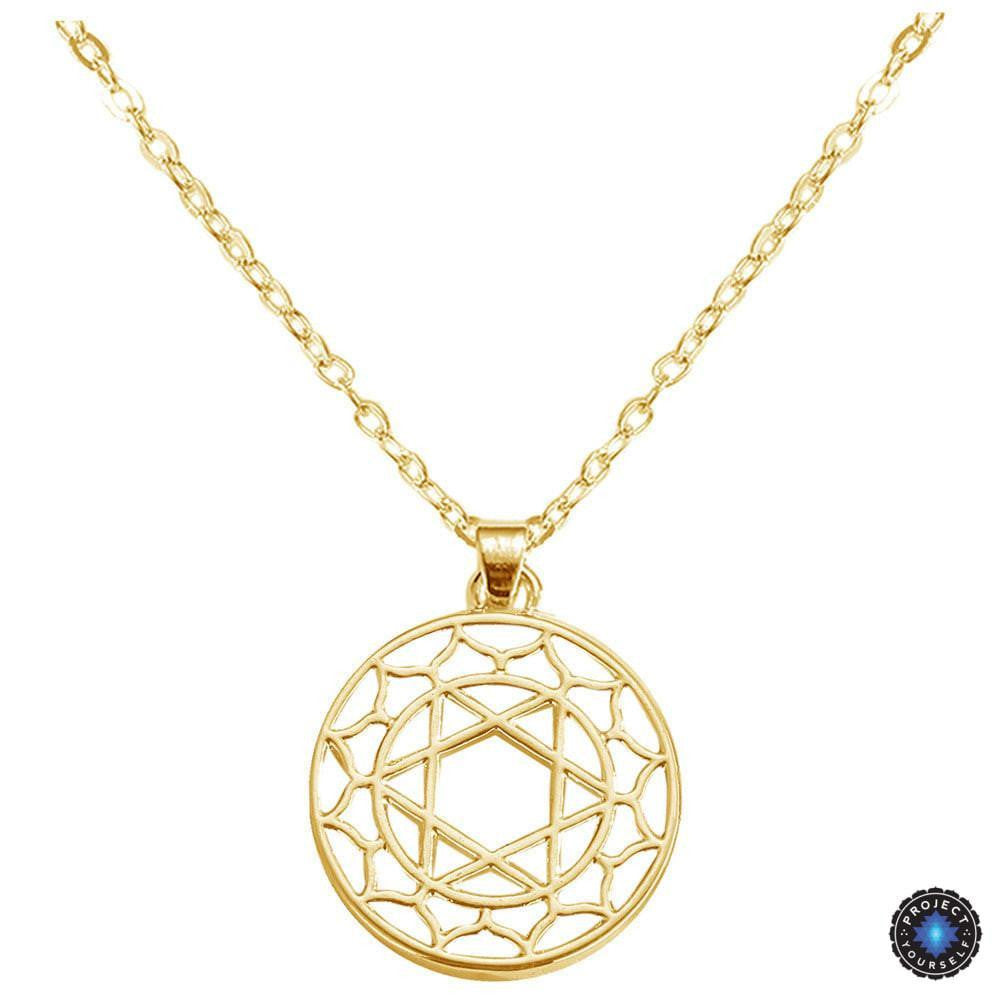 Chakra energy pendant necklace project yourself chakra energy pendant necklace heart chakra anahata gold plated 16inch 405cm mozeypictures Images