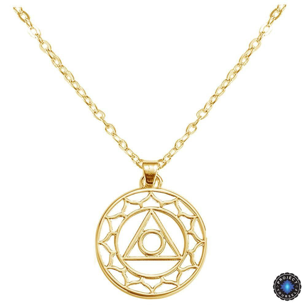 Chakra energy pendant necklace project yourself chakra energy pendant necklace throat chakra vishuddha gold plated 16inch 405cm aloadofball Gallery