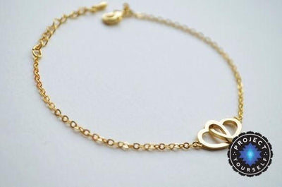 Charming Interlocked Hearts Love Bracelet 18K Gold Plated Bracelet