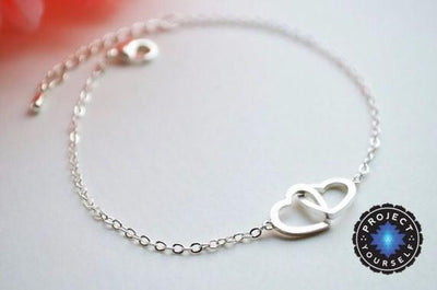 Charming Interlocked Hearts Love Bracelet Silver Plated Bracelet