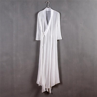 Chinese Style Xie Jin Sheer Meditation Clothing White Mind and Spirit