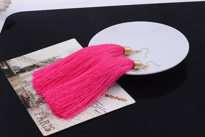Classic Chic Long Tassel Earrings Bright Pink Earrings
