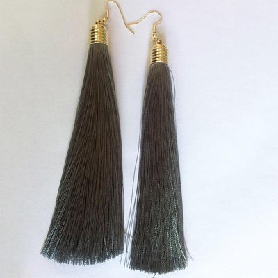 Classic Chic Long Tassel Earrings Gray Earrings
