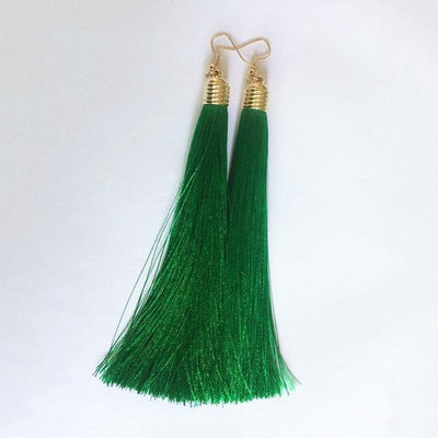 Classic Chic Long Tassel Earrings Green Earrings