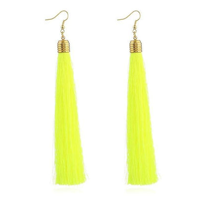 Classic Chic Long Tassel Earrings Neon Yellow Earrings