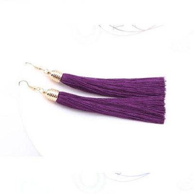 Classic Chic Long Tassel Earrings Purple Earrings