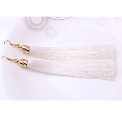 Classic Chic Long Tassel Earrings White Earrings