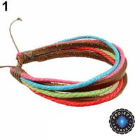 Colorful Multilayer Leather and Rope Adjustable Cuff Bracelet 1 Bracelet