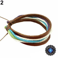 Colorful Multilayer Leather and Rope Adjustable Cuff Bracelet 2 Bracelet