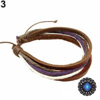 Colorful Multilayer Leather and Rope Adjustable Cuff Bracelet 3 Bracelet
