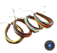 Colorful Multilayer Leather and Rope Adjustable Cuff Bracelet Bracelet