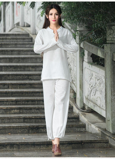 Comfortable 2-Piece Loose Cotton Linen Meditation Tai Chi Clothing Set Mind and Spirit